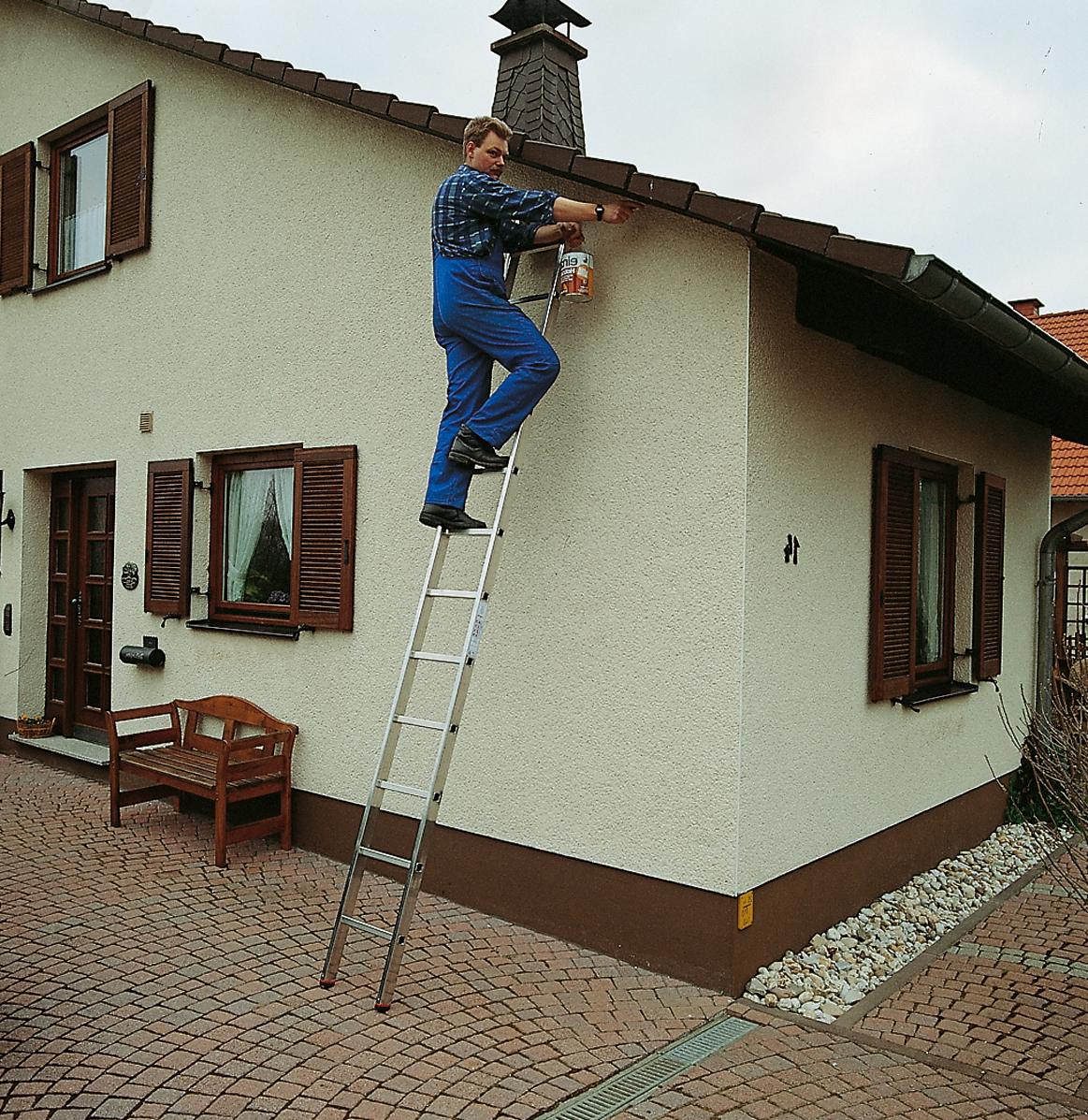 Односекционная приставная лестница с перекладинами Krause Monto Sibilo