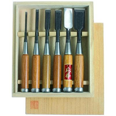 Стамески Hattori, комплект из 6 шт в деревянном кейсе