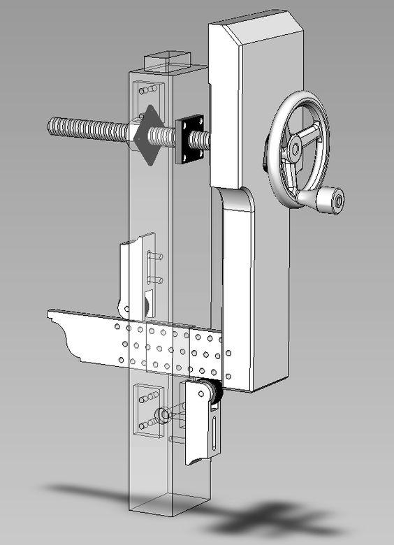 3D схема конструкции вертикальных тисков с роликовой нижней опорой и дискретной фиксацией