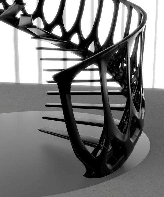 Экзотическая современная лестница с консольно-закрепленными ступенями