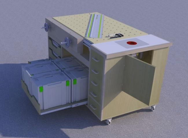 На наш взгляд самый успешный вариант стола под MFT3 - стол Rolling Woodworkers Bench