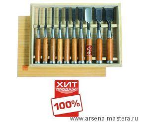Стамески Hattori, комплект из 10 шт в деревянном кейсе 710016