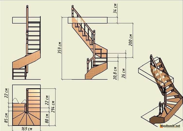 Пример П-образной винтовой лестницы в помещении с высотой потолков 3,25 м