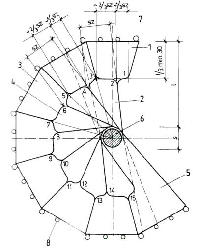 Размеры и их соотношения, необходимые для построения чертежа винтовой лестницы с