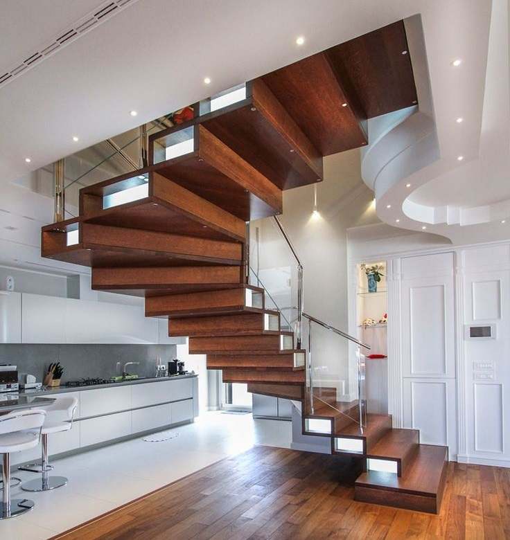 фото лестниц, когда конструкция органично смотрится в пространстве загородного дома