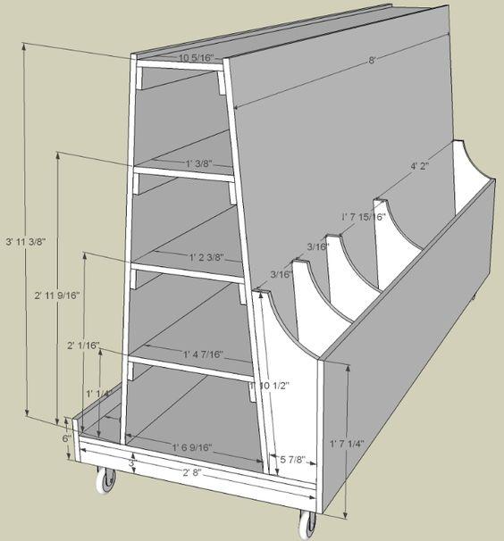 Ниже схемы хранения пиломатериала на мобильном стеллаже