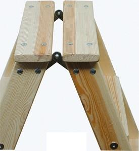 Двусторонняя лестница-стремянка из дерева со ступенями Krause Stabilo