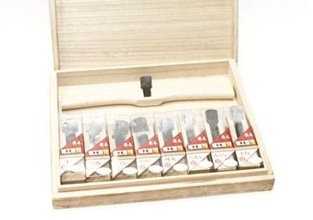 Рубанки японские из белого дуба MikiTool Small, 94 мм, 9 штук в деревянном кейсе