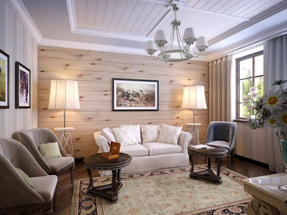 Деревянная стена - природный акцент в Вашем доме