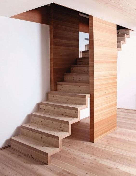 Встречаются лестницы, когда ступени с подступенками сами являются косоурами