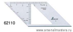 Шаблон угловой Shinwa 172х62мм с дополнительным углом 90гр, нерж.сталь М00013228