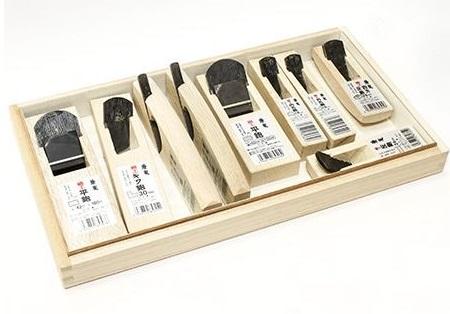Рубанки японские из белого дуба MikiTool Mini 9 штук в деревянном кейсе