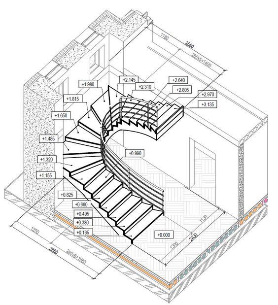 Пример построения высот расположения забежных ступеней на П-образной винтовой лестнице