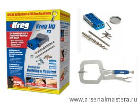 Приспособление для соединения саморезами Kreg Jig Jr в комплекте со струбциной R3-PROMO