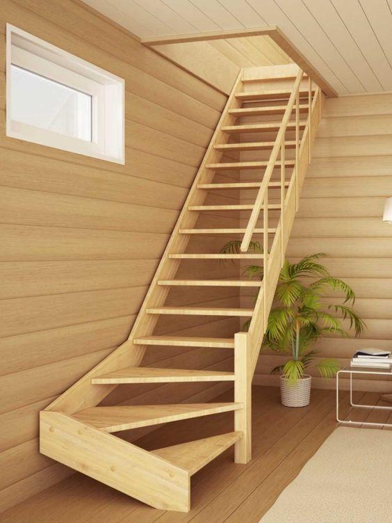 Классическая маршевая лестница на тетивах - одна из самых распространенных лестниц