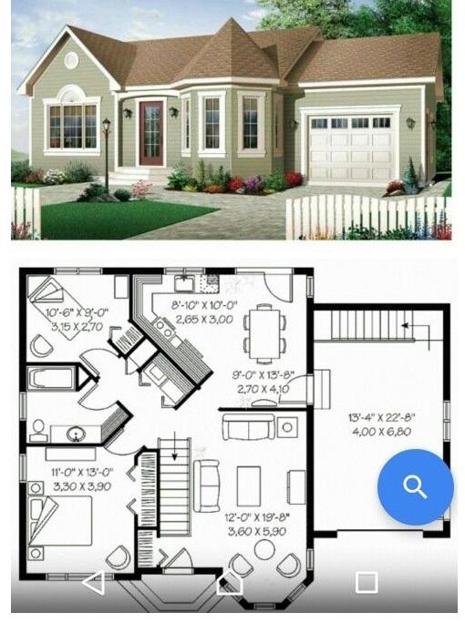 план-схема загородного дома с гаражом