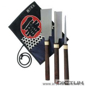 Пилы японские Ryoba 125 мм, Dozuki 120 мм, Kataba 120 мм, набор 3 шт для мастеров по изготовлению музыкальных инструментов и мебели  арт 712011 М00006335