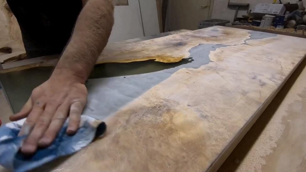 Очистка слэба от пыли после каждого шлифования пример