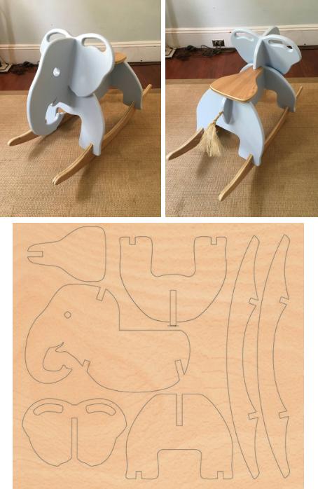 вариант качалки - слоник со схемой изготовления