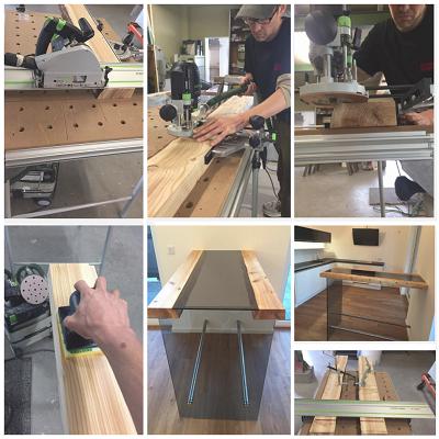 проект стола из дерева и стекла от немецкого мастера Torsten