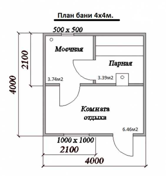 План бани 4 на 4 метра