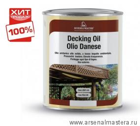 ХИТ! Масло датское Borma Decking Oil 1л для террас Бесцветное 4971-IL