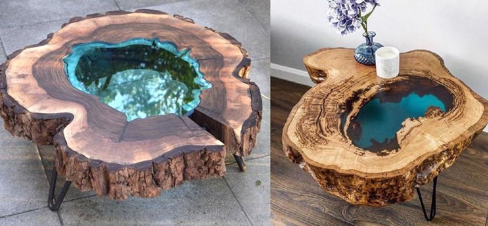 Эпоксидный столик слэб со стеклом из куска дерева фото