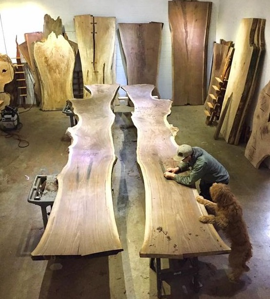 производство слэбов из древесины выставочный зал фото