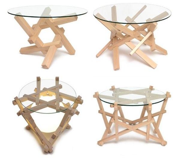 фото Nob Yoshigahara Puzzle Design бесклеевых кофейных столов с ножками - головоломками