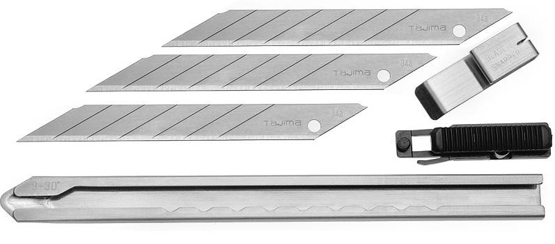 фото Нож TAJIMA трафаретный 9 мм с автофиксацией и 3 лезвиями LC390