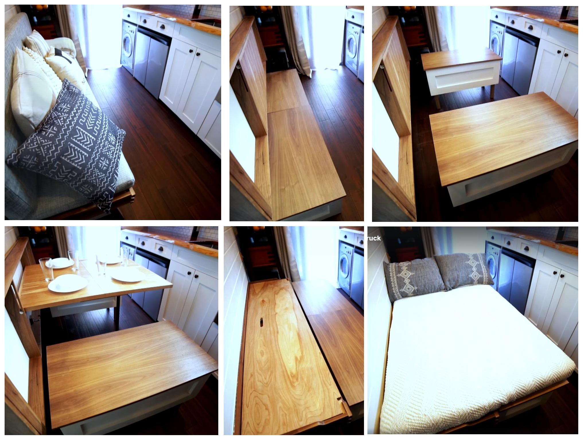 Диван легко превращается в обеденный стол со скамьями и также легко превращается в двухспальную кровать