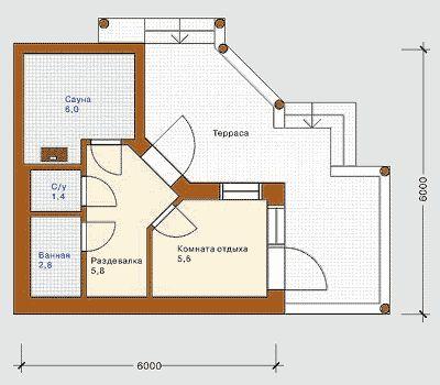 План бани 6х6 метров