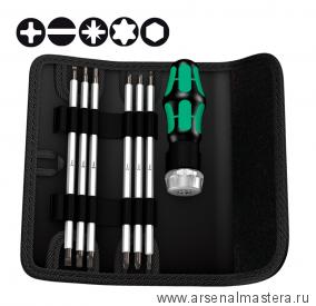 МИНУС 30% Набор отвёртка и биты с функцией трещотки  WERA Kraftform Kompakt Vario RA SB 073665