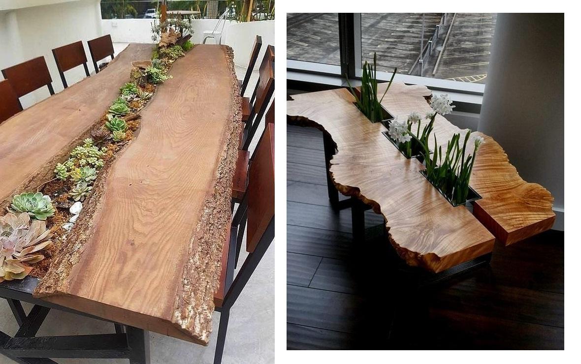 стол из цельных кусков дерева 2019 примеры