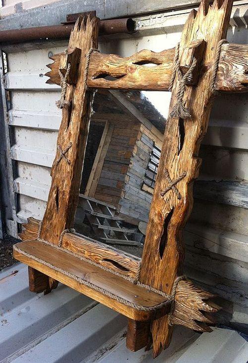зеркало из слэба цельного дерева