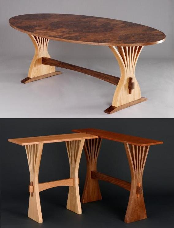 Соединения на нагелях и клиньях разборные обеденный и журнальный стол