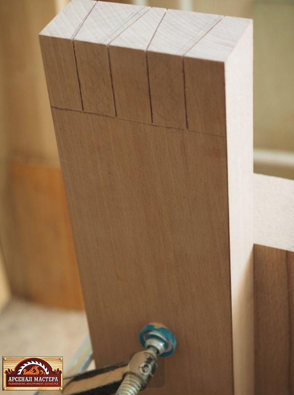 За основу изготовления верстачной крышки был взят клееный буковый щит