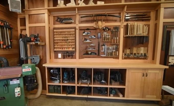 как изготовить стену для хранения инструментов в Мастерской