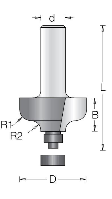 Фреза радиусная фаска волна с нижним подшипником DIMAR