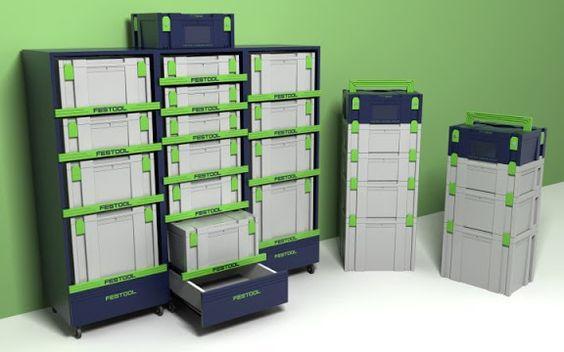 Компактное мобильное хранение систейнеров конечно же удобнее всего организовывать с помощью шкафов и тумб