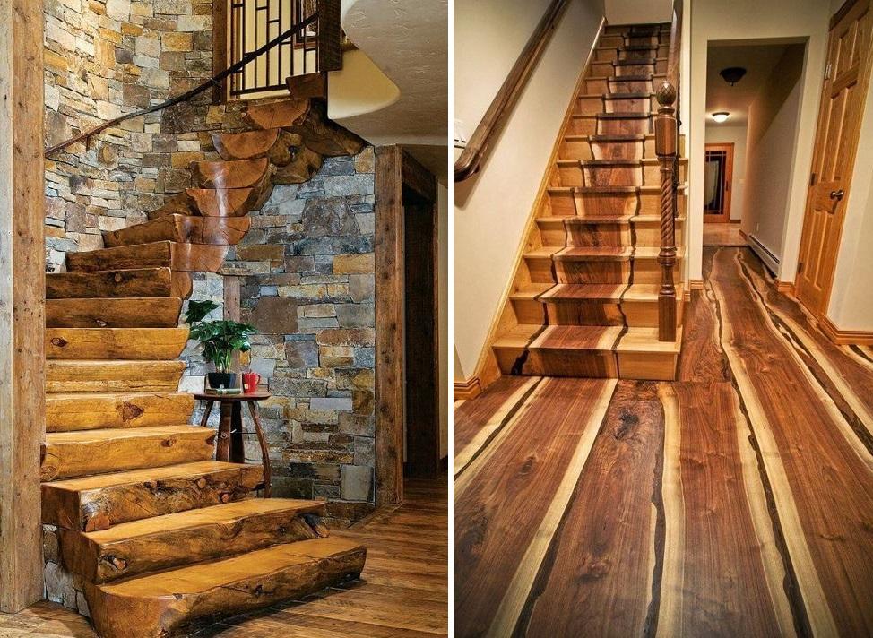 лестница и пол из цельных кусков дерева