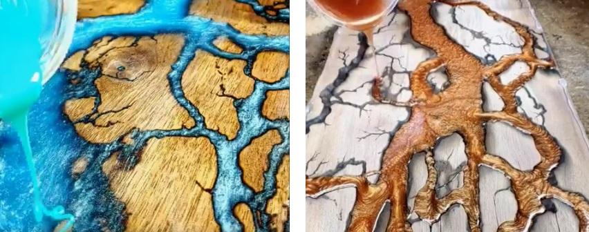 на фото голубая и медная река из эпоксидной смолы пример