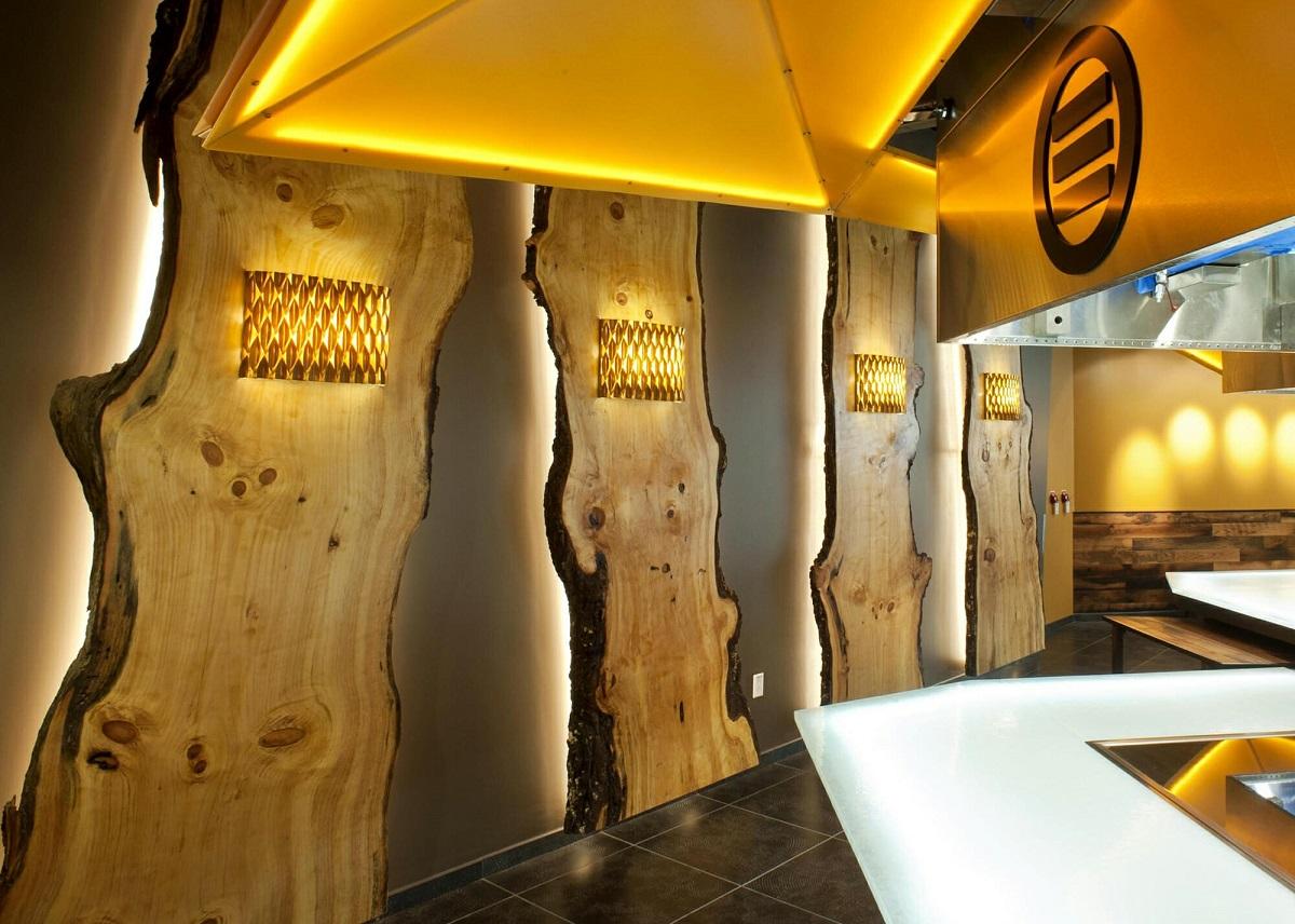 Дизайнерское оформление стен и пола из дерева