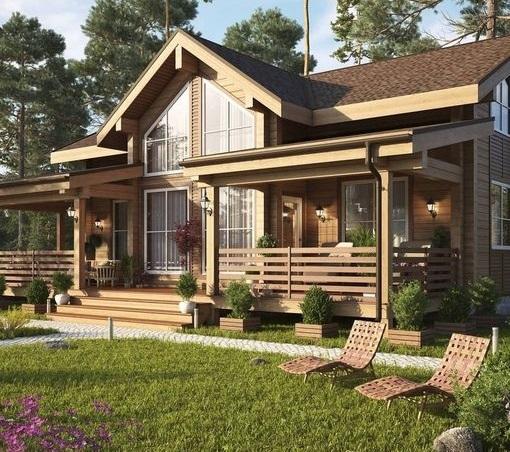 Идея открытой площадки у загородного дома