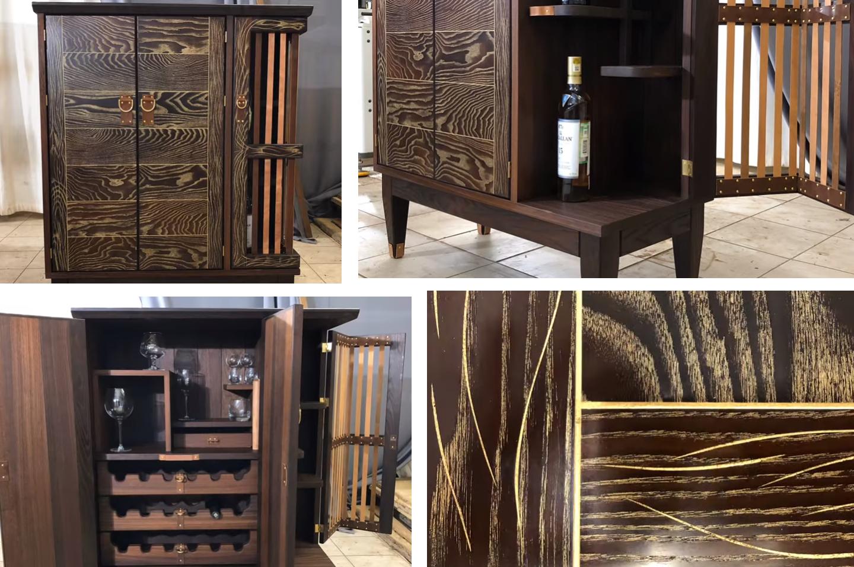 Великолепный результат винный шкафчик из дерева во всей красе