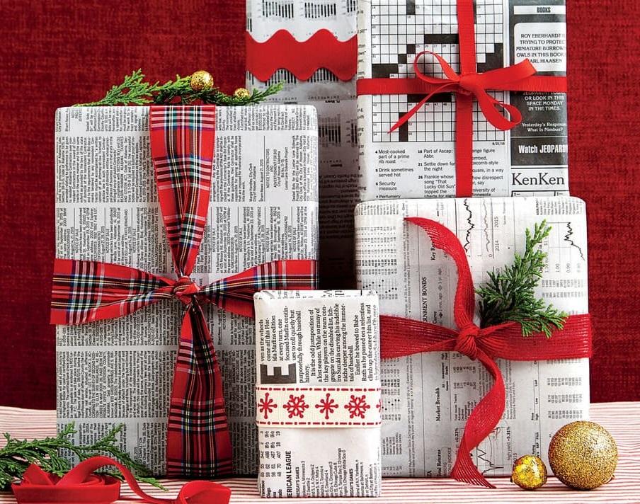 упаковать новогодний подарок мужчине в газету
