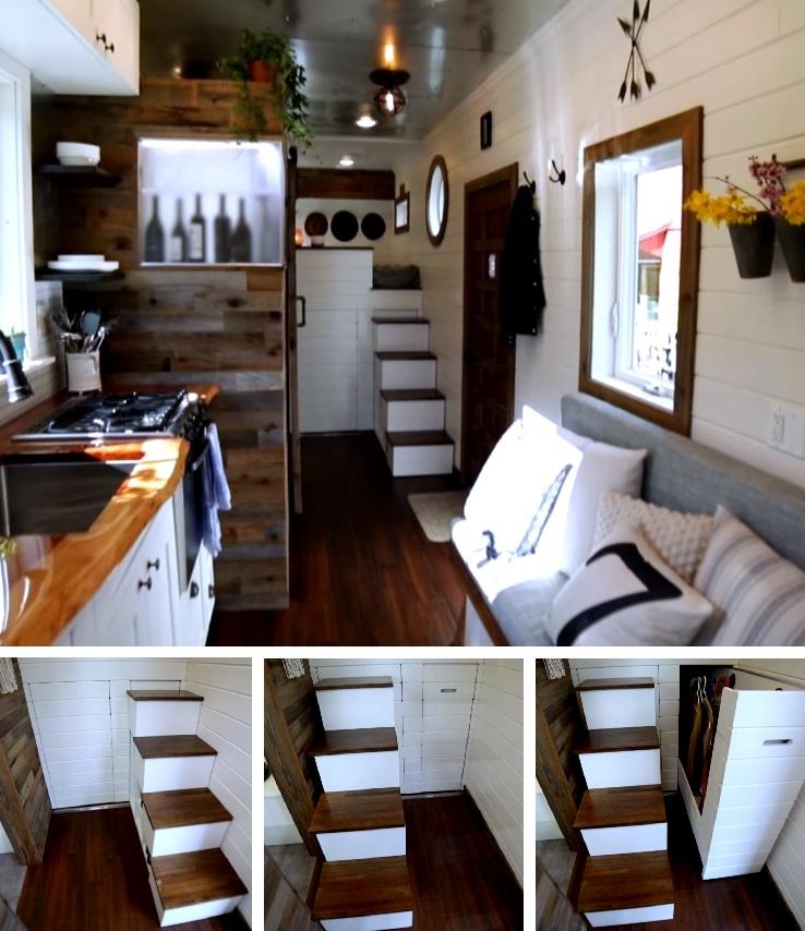 Одна из находок проекта - выдвижной гардероб под спальным местом