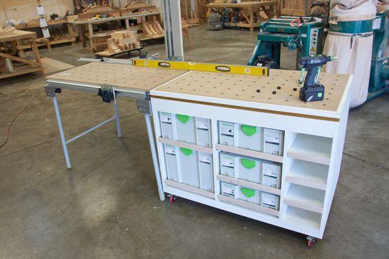 Еще примеры  усовершенствования столов MFT - размещение на мобильных тумбах с системами хранения