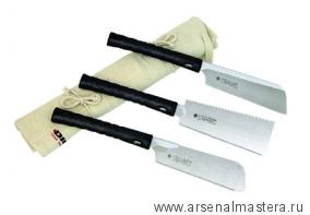 Пилы японские 180 мм пластиковые рукояти 3 шт (Dozuki, Ryoba, Kataba) 712834 в сумке - скрутке М00002587