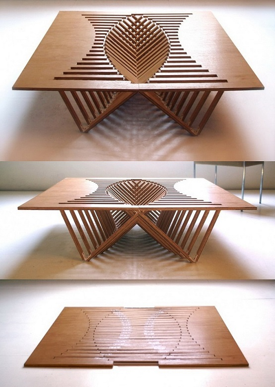объемный складной стол из плоских элементов